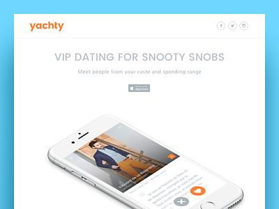 Yachty snob vip happn tinder set jet phone ios landing app dating concept