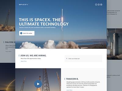 SpaceX | Redesign + Freebie website landing sketch freebies free freebie web concept nasa spacex redesign