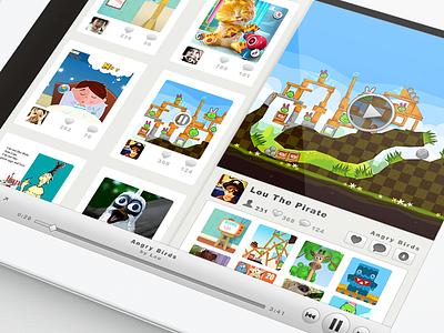 Kindergram iPad app - gameplay video UI gameplay video sharing app kids ipad emilie badin