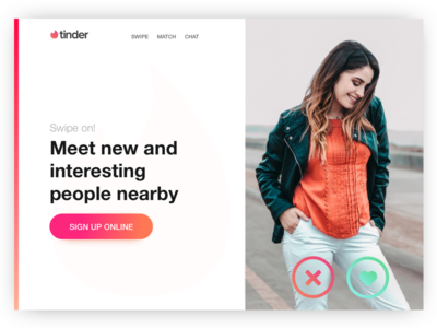 Tinder Hero Exploration ui webgradient unsplash typography header hero tinder
