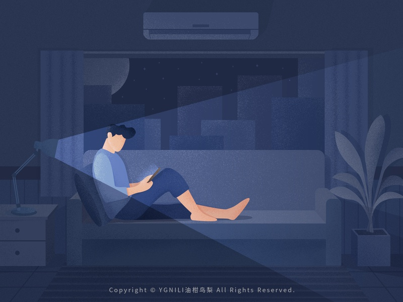 Playing Mobile Phone light table lamp night air conditioning relaxing sofa phone illustration