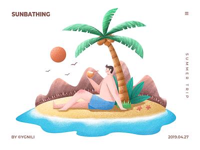 Summer Trip - Sunbathing travel vacation holiday sea beach coconut illustration