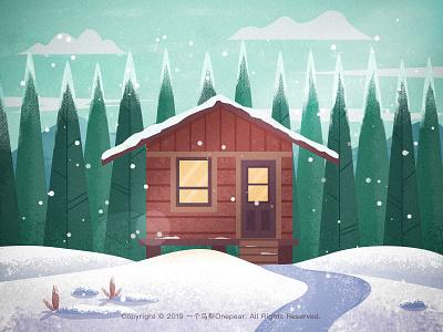 Snow cabin snowing cottage forest illustration