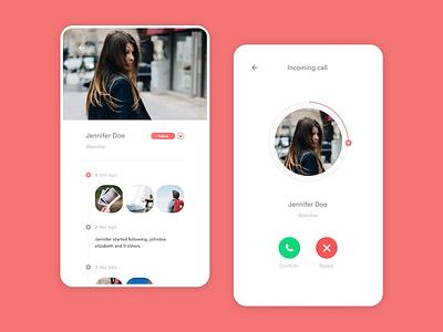 Social App UI Design incoming call call social app ui ui ux