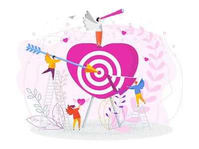 Angels make love date valentine greeting card people design illustration character vector flat