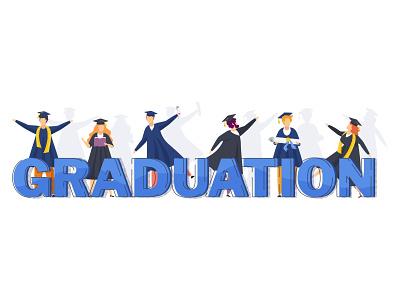 Graduation vector concept card cartoon character greeting illustration flat vector people graduation student