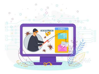 Crimes on the Internet. Hacker. Phishing. illustration phishing people cartoon hacker internet vector flat character crime