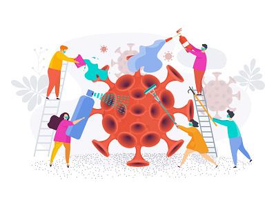 China coronavirus epidemic. infection pandemic epidemy coronavirus people cartoon illustration character vector flat