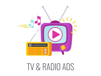 Outbound Marketing. TV & Radio Ads. icon advertising radio tv marketing design cartoon illustration vector flat outbound