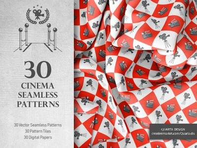 Set of 30 Cinema Seamless Patterns pattern seamless icons movie cinema design illustration vector flat