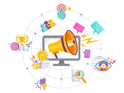 Marketing social media digital advertisement marketing branding design cartoon illustration vector flat