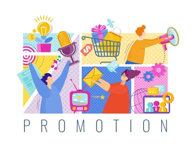 Concept of Promotion promotion ui marketing design people cartoon character illustration vector flat