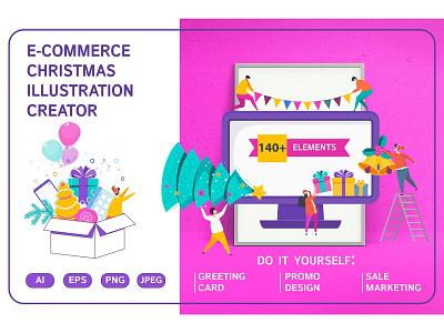 E-COMMERCE CHRISTMAS ILLUSTRATION CREATOR characters decoration christmas greeting marketing branding character illustration vector flat