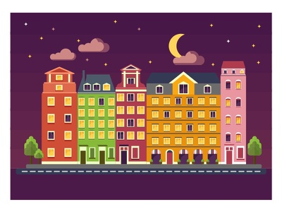 Night Color Houses home vector illustration residential apartment complex flat building apartment interior house apartment building