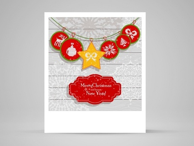 Christmas card with Scandinavian knitted ornament