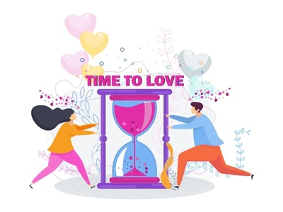 Time To Love valentine day relationship date love time card greeting character kiss people