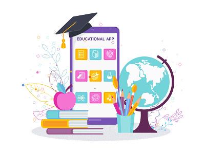 Mobile educational app concept vector flat phone screen app education mobile