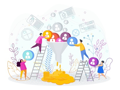 Sales funnel customer client awareness conversion marketing funnel sales illustration character vector
