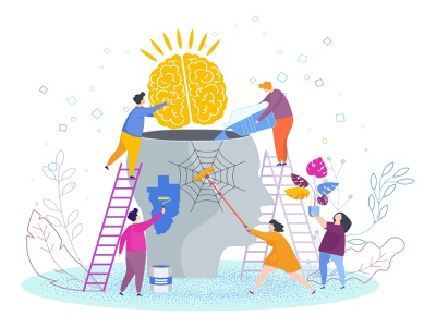 Mental health problems flat vector illustration health design cartoon character mental problem brain psychological