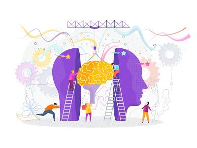 Human Brain Concept design character people intelligence knowledge brainstorm brain illustration vector flat