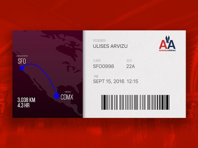 #DailyUI #024 - Boarding Pass boarding pass ticket app airport