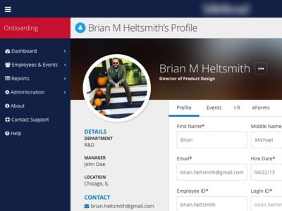View/Edit User Profile hr software onboarding ui design ui template profile user