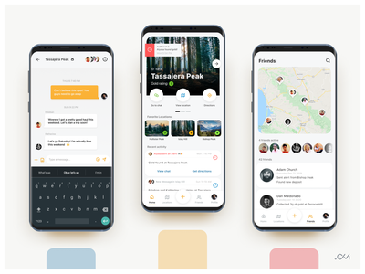GoldRush ios interface ui design map friends conversation chat android mobile app ui ux