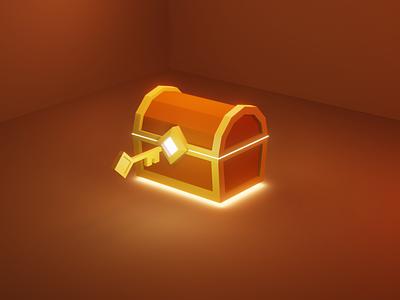 Treasure Chest isometric video games render eevee lowpoly unlock value prop blender 3d illustration
