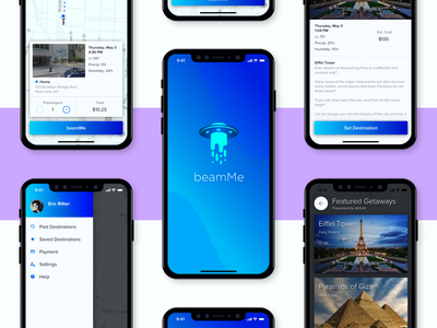 beamMe - A Teleportation App gradient interface alien ufo teleport app ui ride share mobile iphone