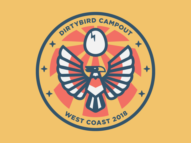Dirtybird Campout Patch 3 vector design logo flat icon illustration egg falcon bird eagle dance camping scouts merit badge patch festival edm