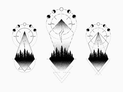 Tattoo Concept trees festival electric forest lightning moon geometry tattoo drawing illustration