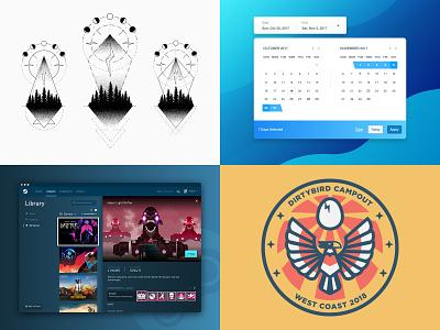 2018 interface badge vector user desktop web ux widget date picker component tattoo house music video games redesign steam illustration icon ui app