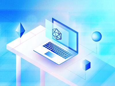 Isometric Tech & Geometry ui future icon adobe geometric illustrator illustration vaporwave icosahedron shapes 3d pc macbook laptop computer geometry isometric