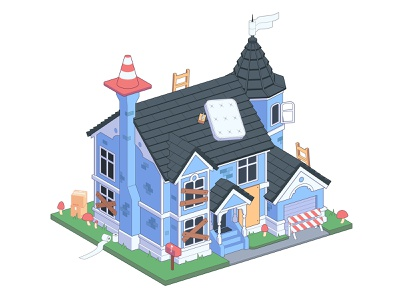 The Simpsons Victorian House Style easymetry simpsons pandemic madrabbit isometry isometric coronavirus city building