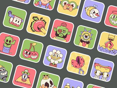 Sber Achievements icon design cuphead game achievement icon character madrabbit