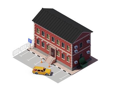House isometry isometric building blender madrabbit 3d city