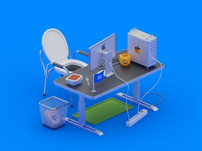 Designer's workplace madrabbit blender apple lego table workplace office isometric isometry
