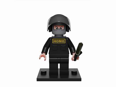 Dictator's battle mini-figure character 3d police blender lego madrabbit