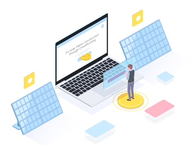 Crowdfunding in Solar plants laptop landing madrabbit isometric interface coin character illustration