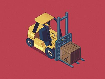 Forkcar lift fork box loader forkcar car isometry