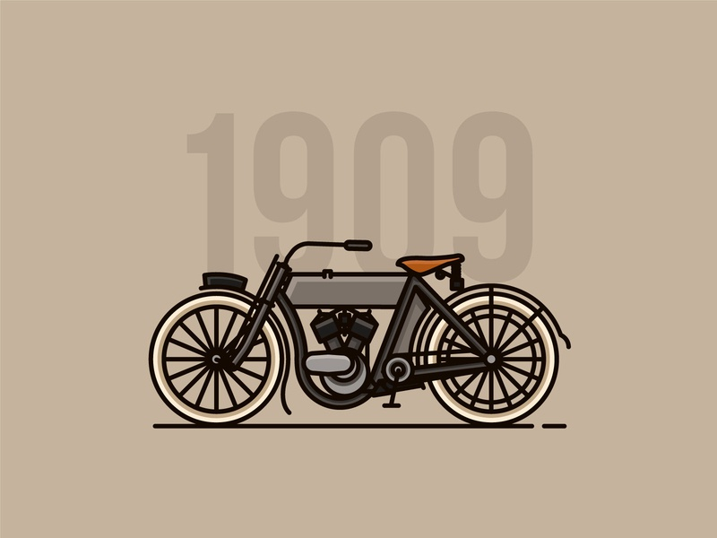 Harley-Davidson 5-D icon motorcycles motorbike linework lineart classic vector illustrator flat  design design
