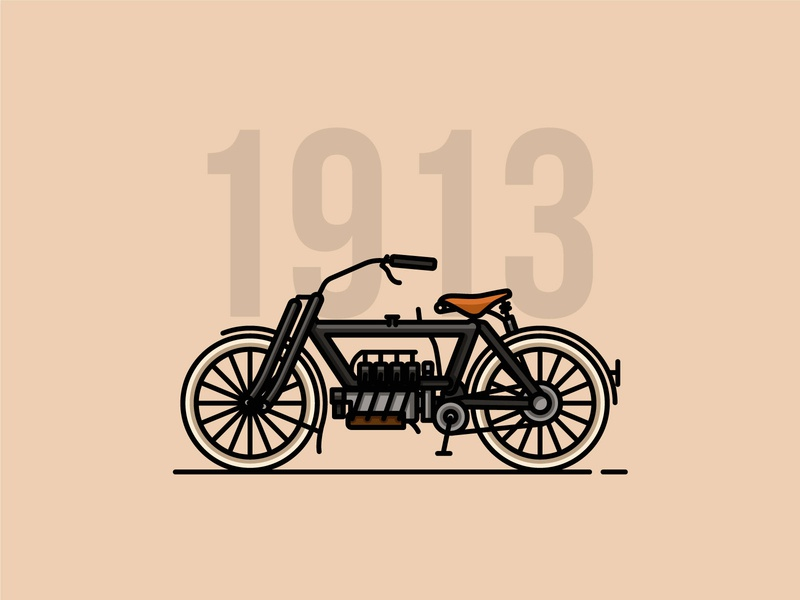 Pierce T Four icon motorcycles motorbike linework lineart classic vector illustrator flat  design design
