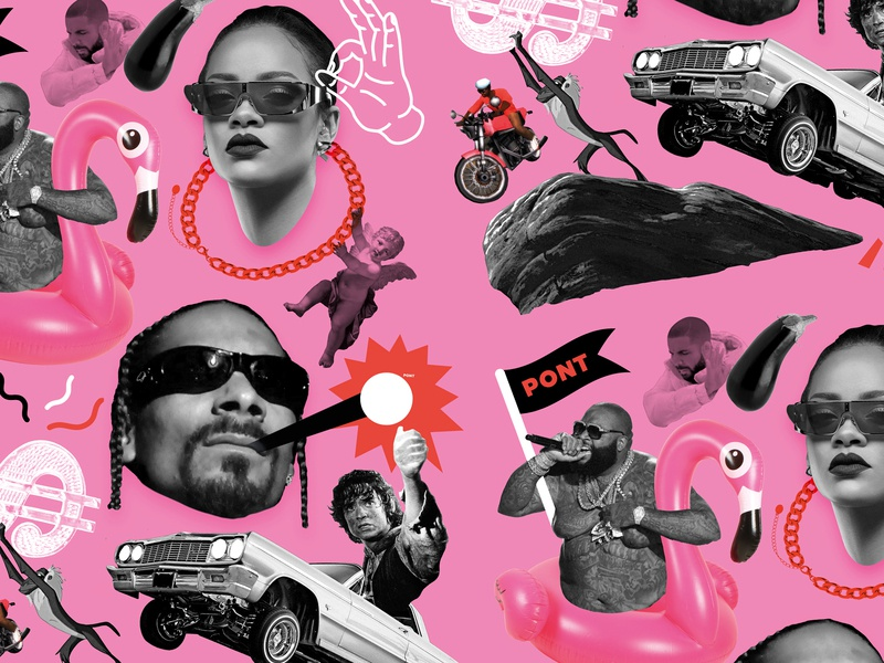 PONT Club Wallpaper funny red texture music neon drake queen brand identity visual design black white pink silly funky club flyer nightlife collage illustration