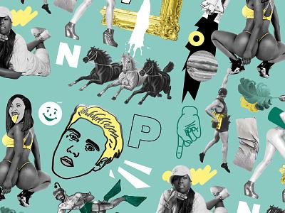 PONT   Wallpaper missy horses justin bieber club flyer branding celebrity visual design neon illustration collage yellow pop green funky nightclub wallpaper