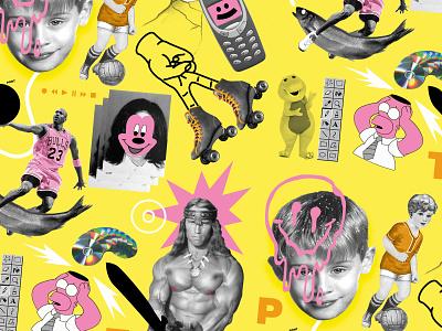 PONT | Wallpaper III pop baller disk silly illustration collage nightlife funky club flyer arnold schwarzenegger king michael jackson michael jordan michael neon music texture yellow funny