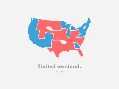 Divided we fall   Magazine illustration minimal states united divided shapes blue red country online gorman amanda america usa inauguration vector magazine illustration