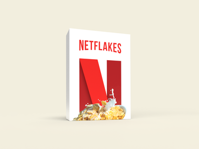 Netflakes conceptual fun boxes 3d streaming hollywood movies illustration magazine box cereal netflix