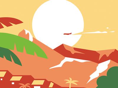 La Concha airplane mountain illustration pizza coffee