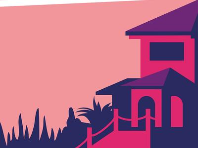 Sierra Blanca garden duotone sun sky port playa sea mediterranean illustration editorial luxury villa
