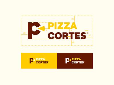 Pizza Cortes   Logo typography vector identity design branding duotone logo restaurant food delivery pizza